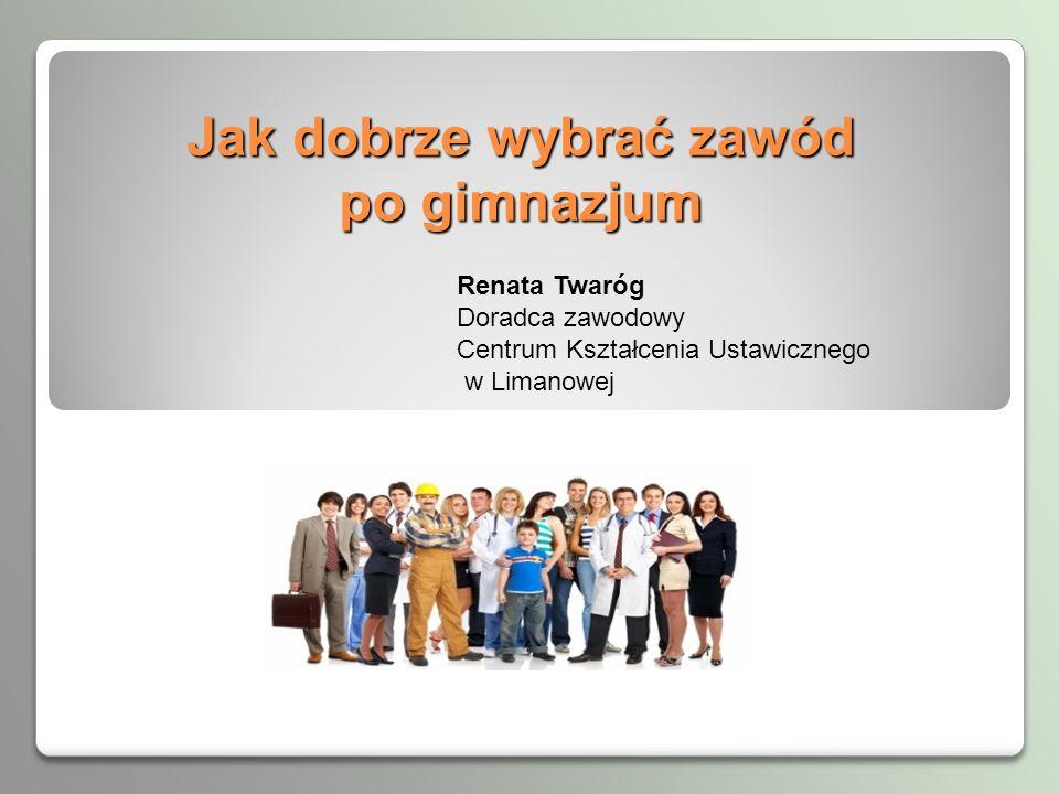 Jak dobrze wybrać zawód po gimnazjum Renata Twaróg Doradca zawodowy Centrum Kształcenia Ustawicznego w Limanowej