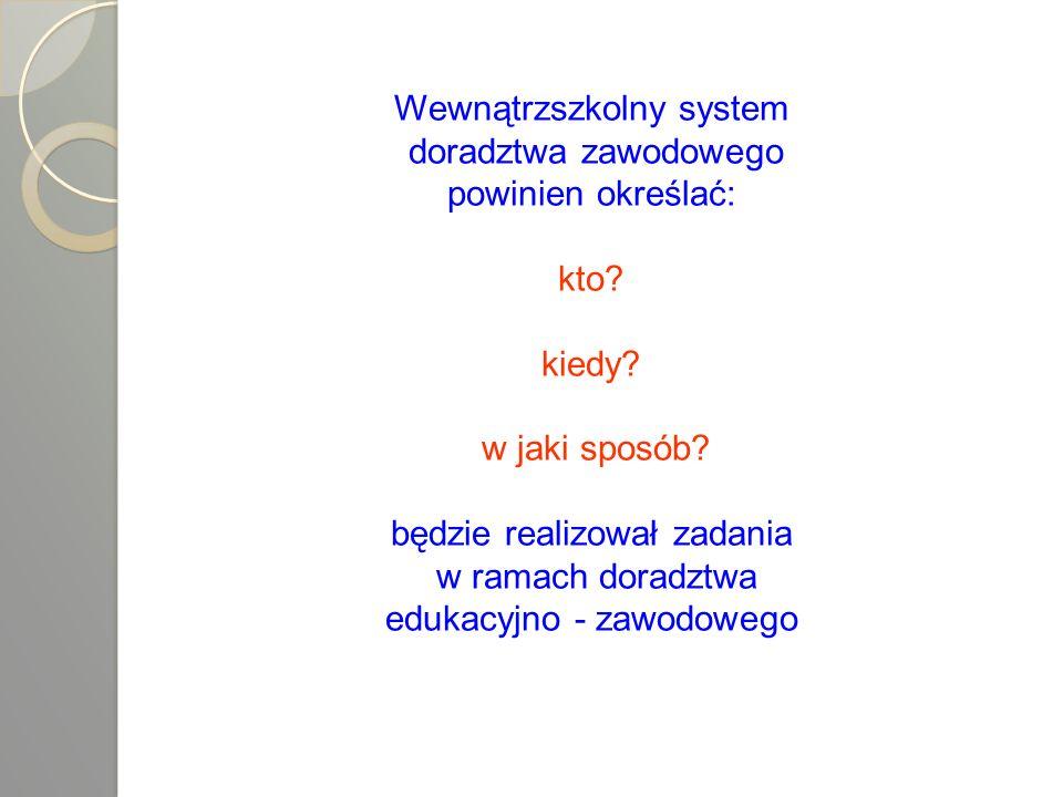 Wewnątrzszkolny system doradztwa zawodowego powinien określać: kto? kiedy? w jaki sposób? będzie realizował zadania w ramach doradztwa edukacyjno - za