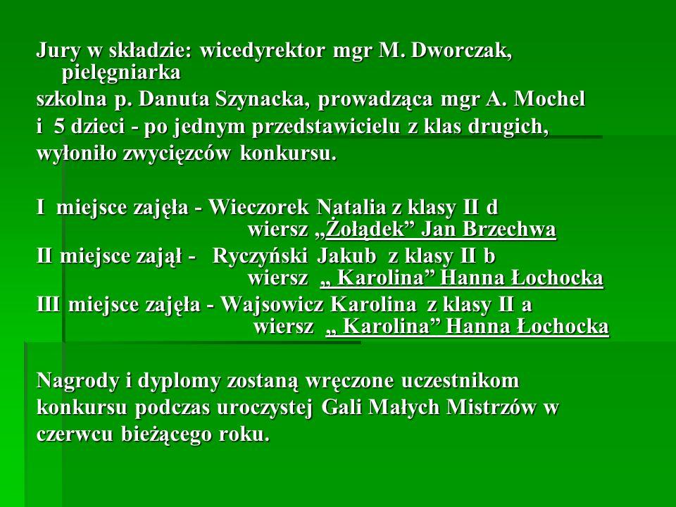 Jury w składzie: wicedyrektor mgr M.Dworczak, pielęgniarka szkolna p.