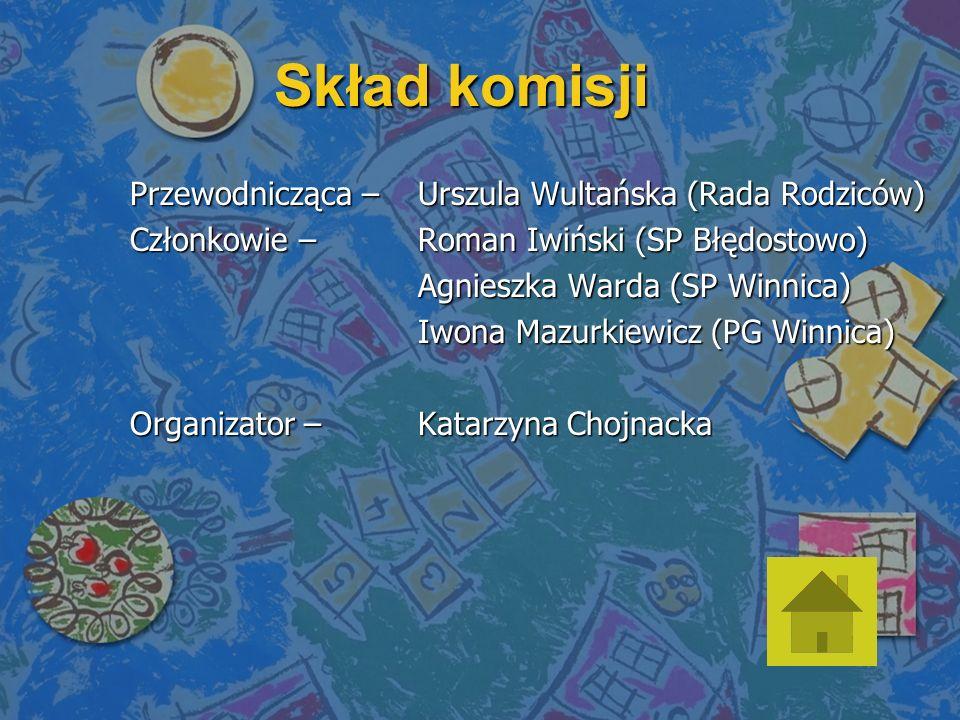 Skład komisji Przewodnicząca – Urszula Wultańska (Rada Rodziców) Członkowie – Roman Iwiński (SP Błędostowo) Agnieszka Warda (SP Winnica) Iwona Mazurkiewicz (PG Winnica) Organizator – Katarzyna Chojnacka
