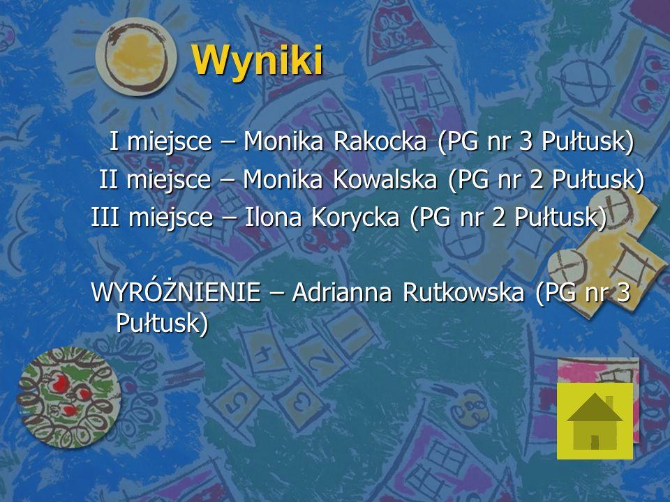 Wyniki I miejsce – Monika Rakocka (PG nr 3 Pułtusk) I miejsce – Monika Rakocka (PG nr 3 Pułtusk) II miejsce – Monika Kowalska (PG nr 2 Pułtusk) II miejsce – Monika Kowalska (PG nr 2 Pułtusk) III miejsce – Ilona Korycka (PG nr 2 Pułtusk) WYRÓŻNIENIE – Adrianna Rutkowska (PG nr 3 Pułtusk)