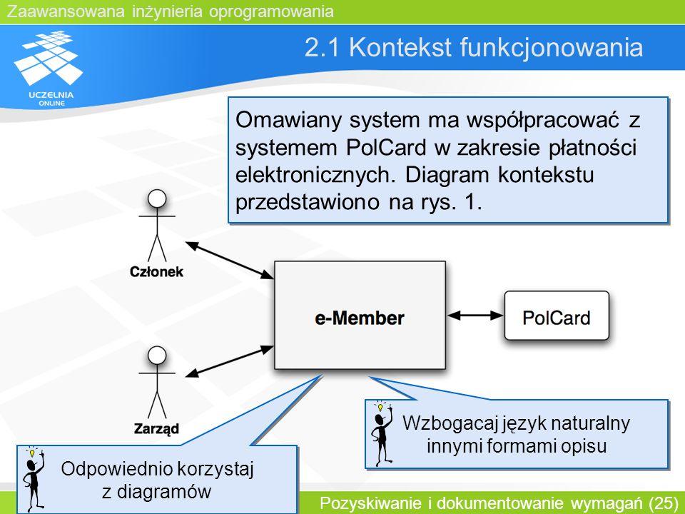 Zaawansowana inżynieria oprogramowania Pozyskiwanie i dokumentowanie wymagań (25) 2.1 Kontekst funkcjonowania Omawiany system ma współpracować z syste