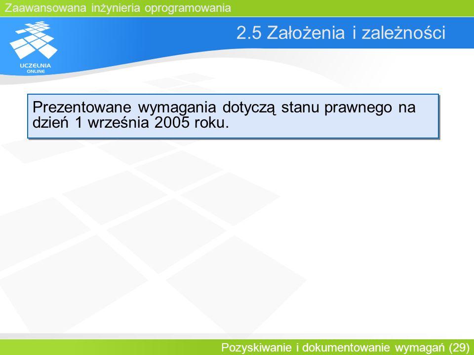 Zaawansowana inżynieria oprogramowania Pozyskiwanie i dokumentowanie wymagań (29) 2.5 Założenia i zależności Prezentowane wymagania dotyczą stanu praw