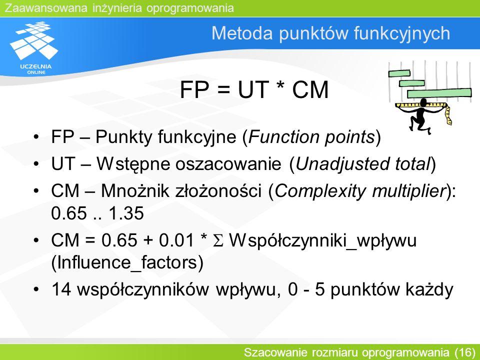 Zaawansowana inżynieria oprogramowania Szacowanie rozmiaru oprogramowania (16) Metoda punktów funkcyjnych FP = UT * CM FP – Punkty funkcyjne (Function
