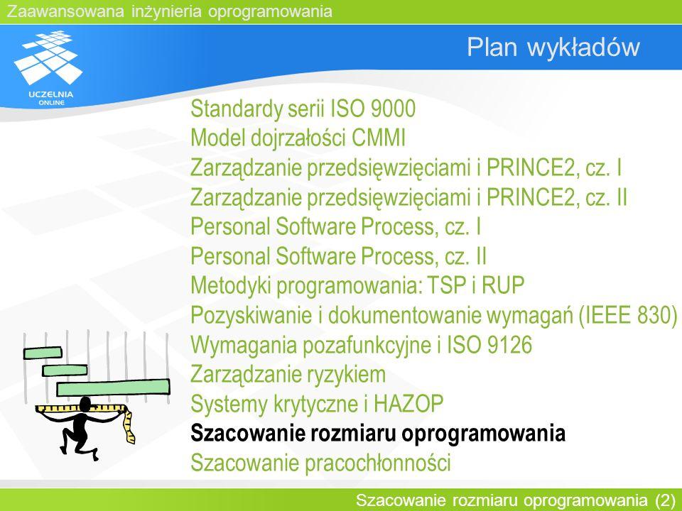Zaawansowana inżynieria oprogramowania Szacowanie rozmiaru oprogramowania (2) Plan wykładów Standardy serii ISO 9000 Model dojrzałości CMMI Zarządzani