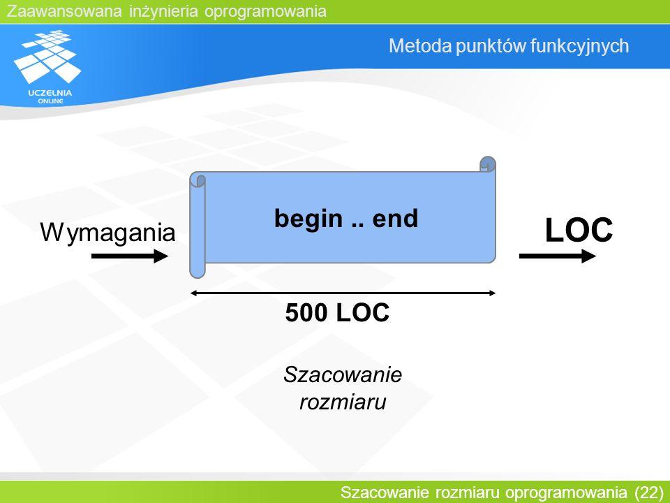 Zaawansowana inżynieria oprogramowania Szacowanie rozmiaru oprogramowania (22) Metoda punktów funkcyjnych begin.. end 500 LOC Szacowanie rozmiaru Wyma