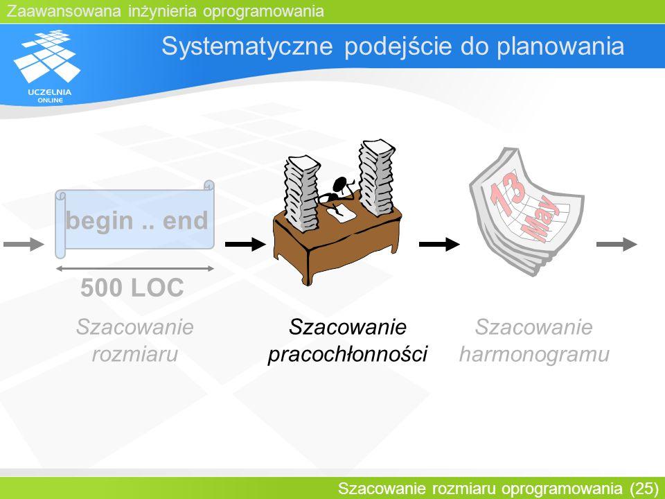 Zaawansowana inżynieria oprogramowania Szacowanie rozmiaru oprogramowania (25) Systematyczne podejście do planowania begin.. end 500 LOC Szacowanie ro