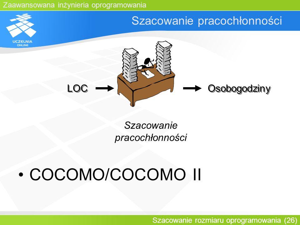 Zaawansowana inżynieria oprogramowania Szacowanie rozmiaru oprogramowania (26) Szacowanie pracochłonności LOC Osobogodziny Szacowanie pracochłonności