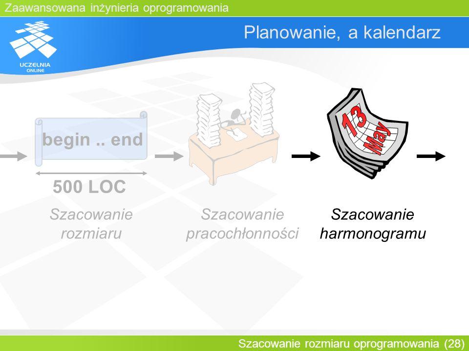 Zaawansowana inżynieria oprogramowania Szacowanie rozmiaru oprogramowania (28) Planowanie, a kalendarz begin.. end 500 LOC Szacowanie rozmiaru Szacowa