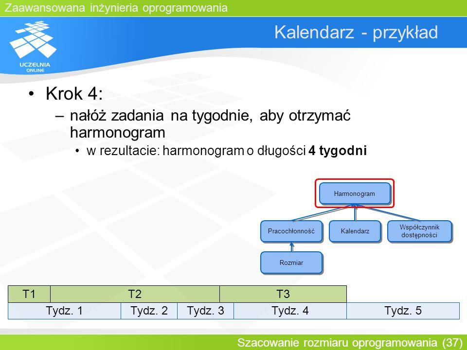 Zaawansowana inżynieria oprogramowania Szacowanie rozmiaru oprogramowania (37) Kalendarz - przykład Krok 4: –nałóż zadania na tygodnie, aby otrzymać h