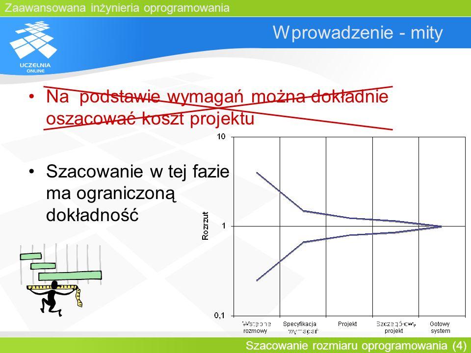 Zaawansowana inżynieria oprogramowania Szacowanie rozmiaru oprogramowania (4) Wprowadzenie - mity Na podstawie wymagań można dokładnie oszacować koszt