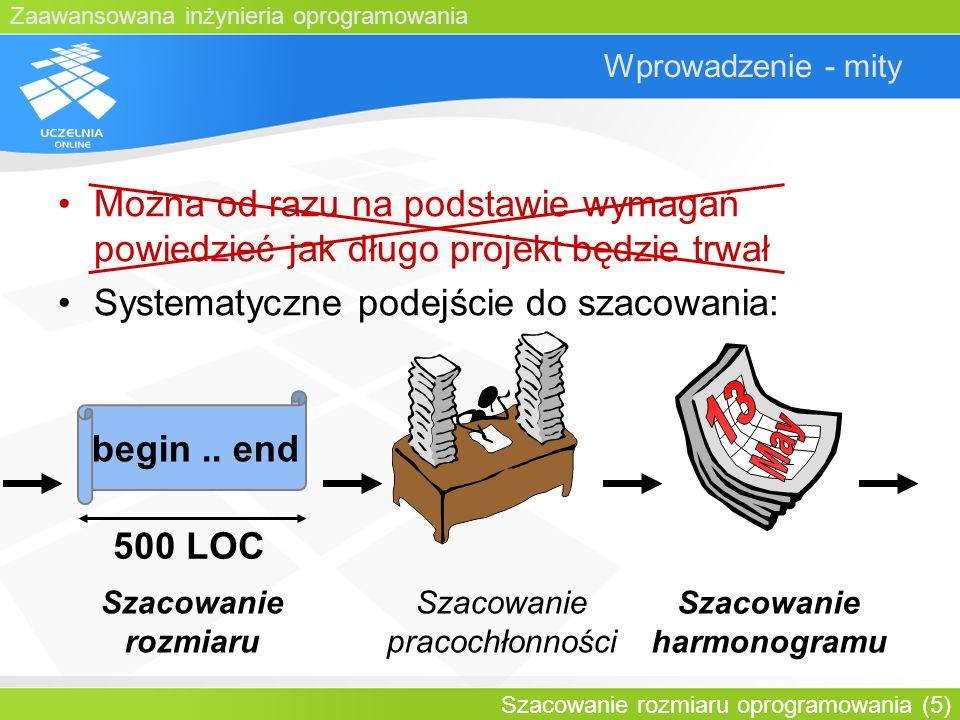 Zaawansowana inżynieria oprogramowania Szacowanie rozmiaru oprogramowania (5) Wprowadzenie - mity begin.. end 500 LOC Szacowanie rozmiaru Szacowanie p