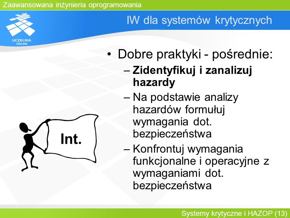 Zaawansowana inżynieria oprogramowania Systemy krytyczne i HAZOP (13) IW dla systemów krytycznych Dobre praktyki - pośrednie: –Zidentyfikuj i zanalizu