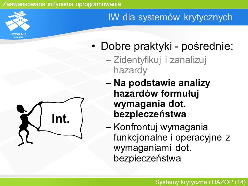 Zaawansowana inżynieria oprogramowania Systemy krytyczne i HAZOP (14) IW dla systemów krytycznych Dobre praktyki - pośrednie: –Zidentyfikuj i zanalizu