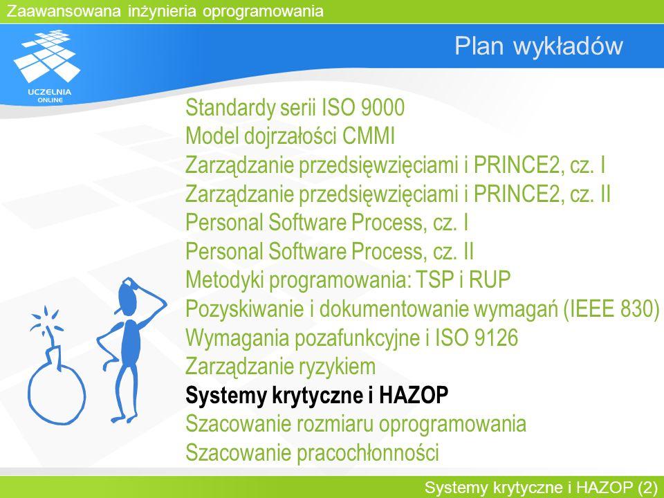 Zaawansowana inżynieria oprogramowania Systemy krytyczne i HAZOP (13) IW dla systemów krytycznych Dobre praktyki - pośrednie: –Zidentyfikuj i zanalizuj hazardy –Na podstawie analizy hazardów formułuj wymagania dot.