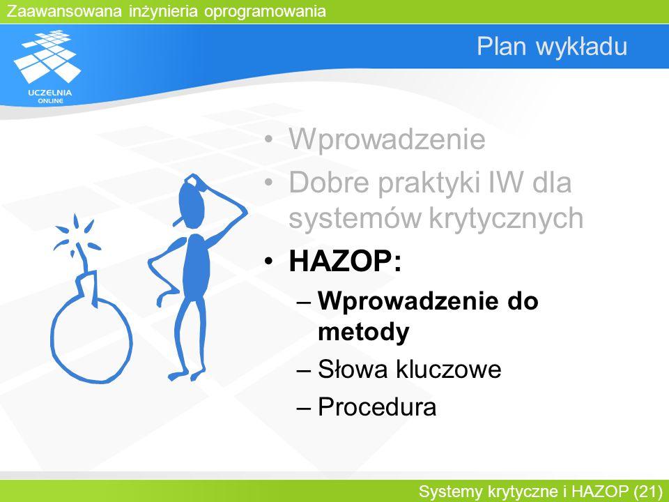 Zaawansowana inżynieria oprogramowania Systemy krytyczne i HAZOP (21) Plan wykładu Wprowadzenie Dobre praktyki IW dla systemów krytycznych HAZOP: –Wpr