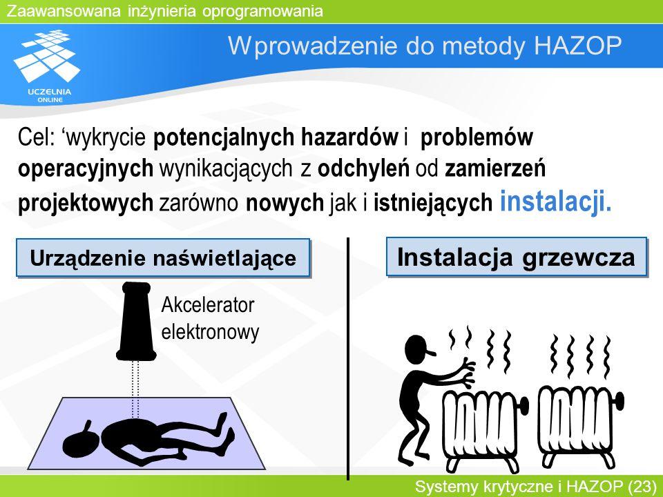 Zaawansowana inżynieria oprogramowania Systemy krytyczne i HAZOP (23) Wprowadzenie do metody HAZOP Cel: wykrycie potencjalnych hazardów i problemów op