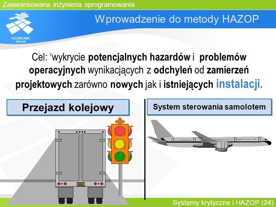 Zaawansowana inżynieria oprogramowania Systemy krytyczne i HAZOP (24) Wprowadzenie do metody HAZOP Przejazd kolejowy System sterowania samolotem Cel: