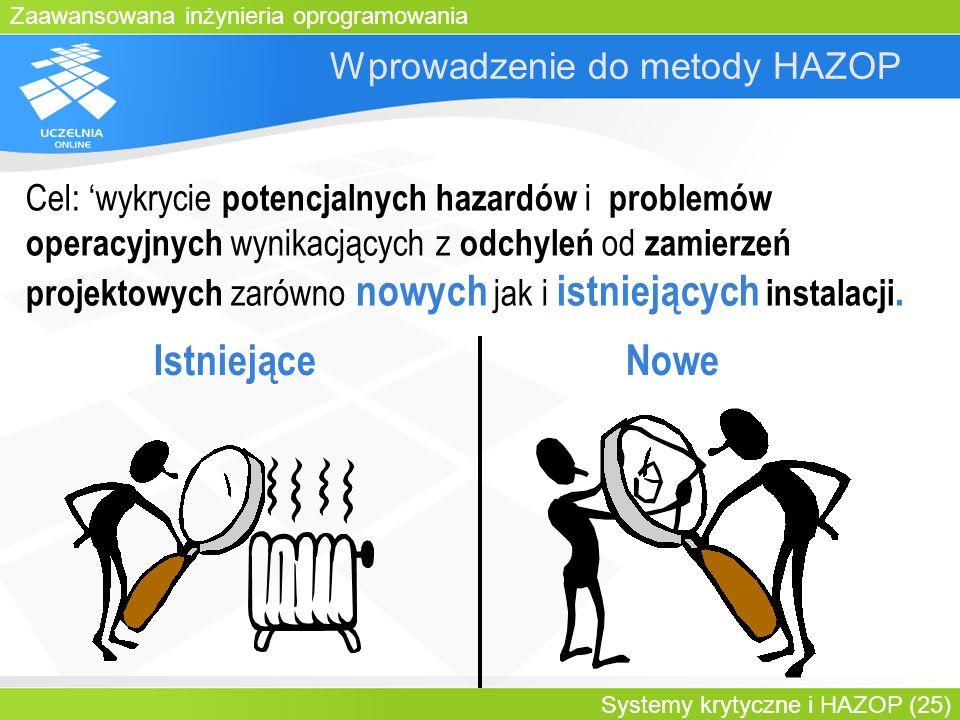Zaawansowana inżynieria oprogramowania Systemy krytyczne i HAZOP (25) Wprowadzenie do metody HAZOP IstniejąceNowe Cel: wykrycie potencjalnych hazardów