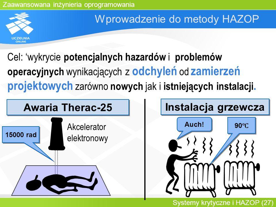 Zaawansowana inżynieria oprogramowania Systemy krytyczne i HAZOP (27) Wprowadzenie do metody HAZOP Cel: wykrycie potencjalnych hazardów i problemów op