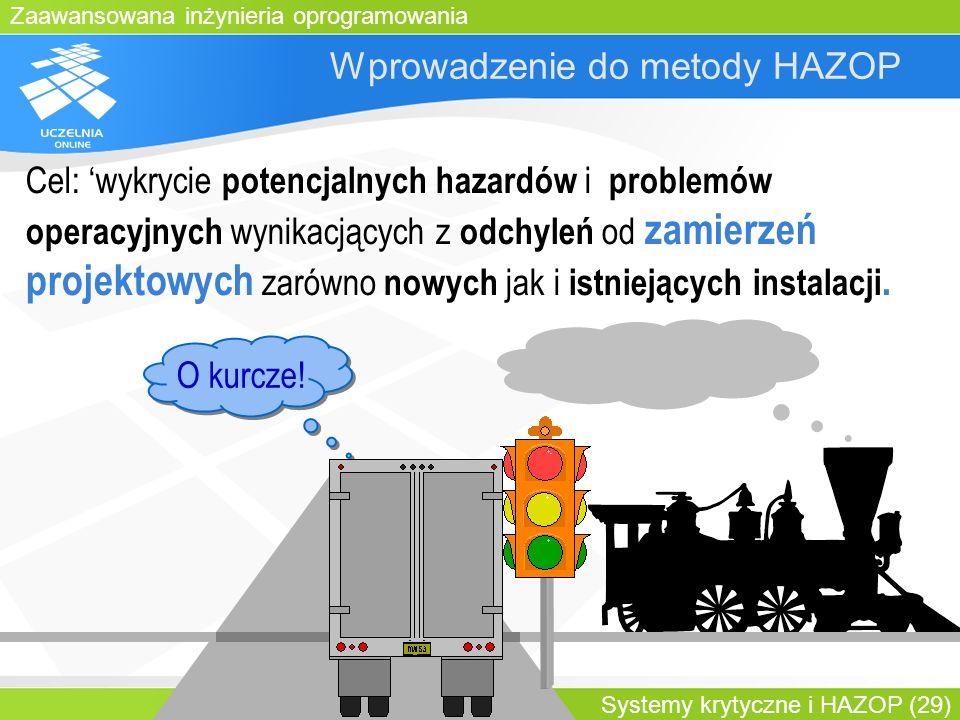 Zaawansowana inżynieria oprogramowania Systemy krytyczne i HAZOP (29) Wprowadzenie do metody HAZOP O kurcze! Cel: wykrycie potencjalnych hazardów i pr