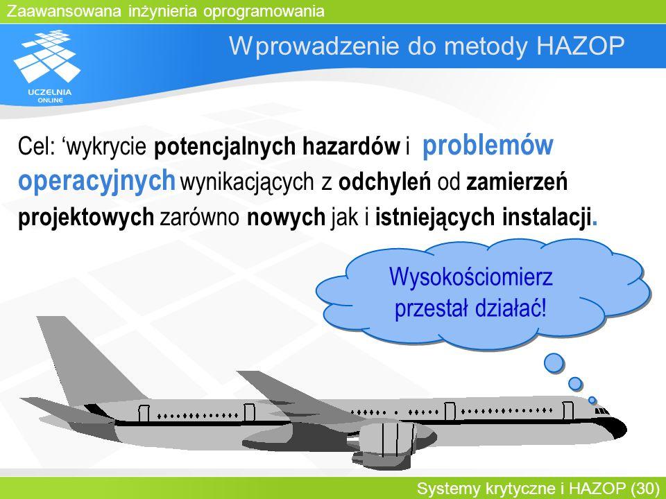 Zaawansowana inżynieria oprogramowania Systemy krytyczne i HAZOP (30) Wprowadzenie do metody HAZOP Wysokościomierz przestał działać! Cel: wykrycie pot