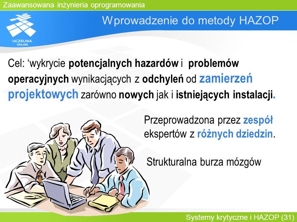 Zaawansowana inżynieria oprogramowania Systemy krytyczne i HAZOP (31) Wprowadzenie do metody HAZOP Przeprowadzona przez zespół ekspertów z różnych dzi