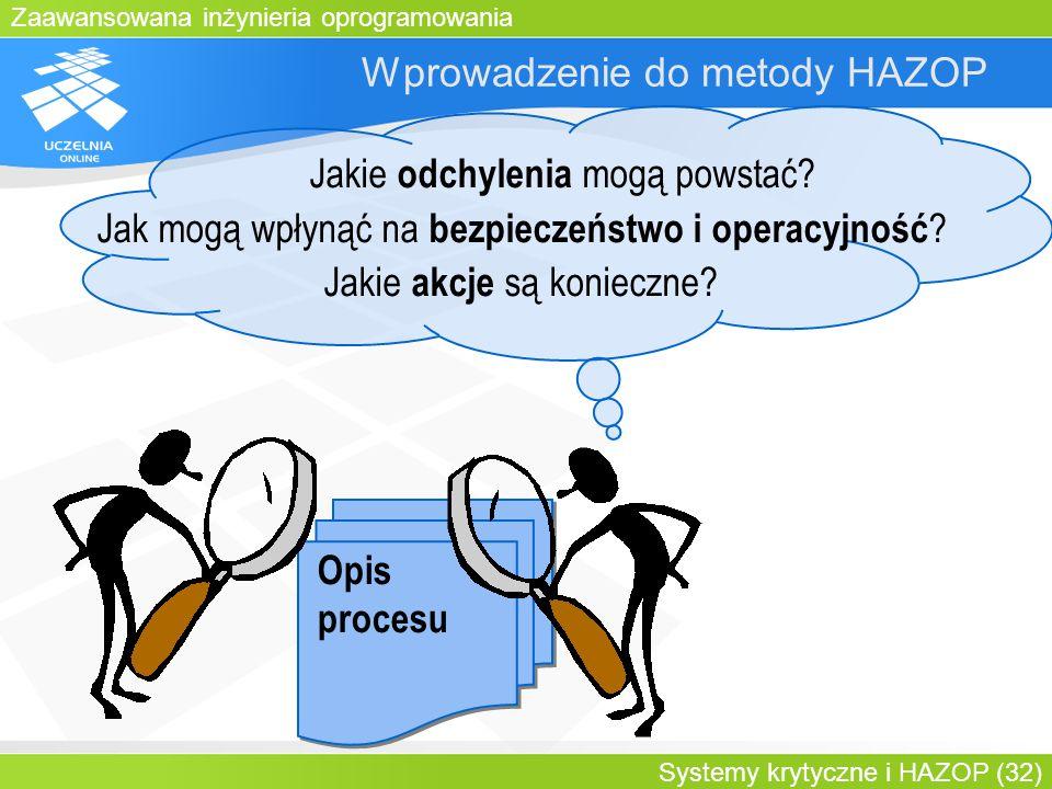 Zaawansowana inżynieria oprogramowania Systemy krytyczne i HAZOP (32) Wprowadzenie do metody HAZOP Opis procesu Jakie odchylenia mogą powstać? Jak mog
