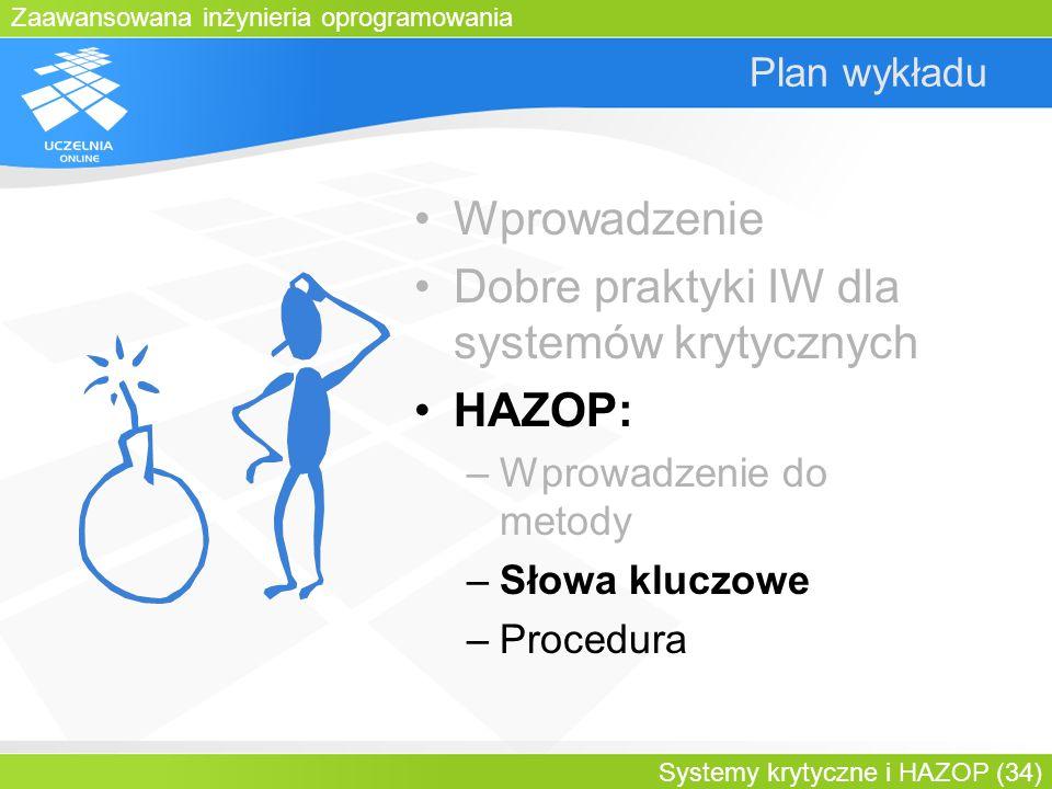 Zaawansowana inżynieria oprogramowania Systemy krytyczne i HAZOP (34) Plan wykładu Wprowadzenie Dobre praktyki IW dla systemów krytycznych HAZOP: –Wpr