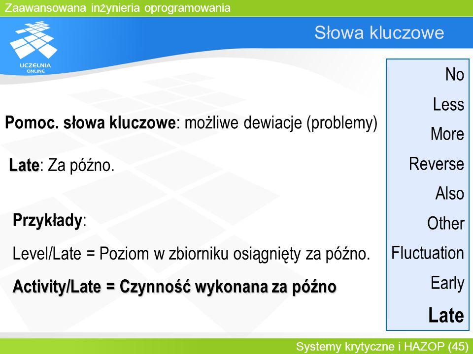 Zaawansowana inżynieria oprogramowania Systemy krytyczne i HAZOP (45) Słowa kluczowe Late Late : Za późno. Przykłady : Level/Late = Poziom w zbiorniku
