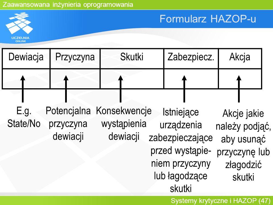 Zaawansowana inżynieria oprogramowania Systemy krytyczne i HAZOP (47) Formularz HAZOP-u DewiacjaPrzyczynaSkutkiZabezpiecz.Akcja E.g. State/No Potencja