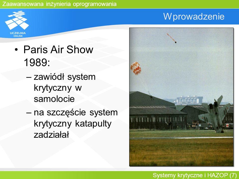 Zaawansowana inżynieria oprogramowania Systemy krytyczne i HAZOP (7) Wprowadzenie Paris Air Show 1989: –zawiódł system krytyczny w samolocie –na szczę