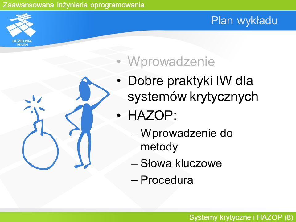 Zaawansowana inżynieria oprogramowania Systemy krytyczne i HAZOP (8) Plan wykładu Wprowadzenie Dobre praktyki IW dla systemów krytycznych HAZOP: –Wpro