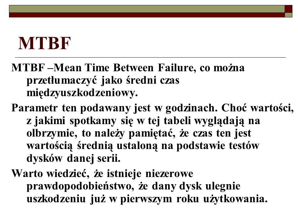 MTBF MTBF –Mean Time Between Failure, co można przetłumaczyć jako średni czas międzyuszkodzeniowy. Parametr ten podawany jest w godzinach. Choć wartoś