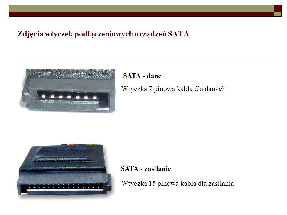 Zdjęcia wtyczek podłączeniowych urządzeń SATA SATA - dane Wtyczka 7 pinowa kabla dla danych SATA - zasilanie Wtyczka 15 pinowa kabla dla zasilania