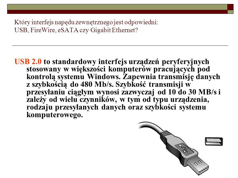 Który interfejs napędu zewnętrznego jest odpowiedni: USB, FireWire, eSATA czy Gigabit Ethernet? USB 2.0 to standardowy interfejs urządzeń peryferyjnyc