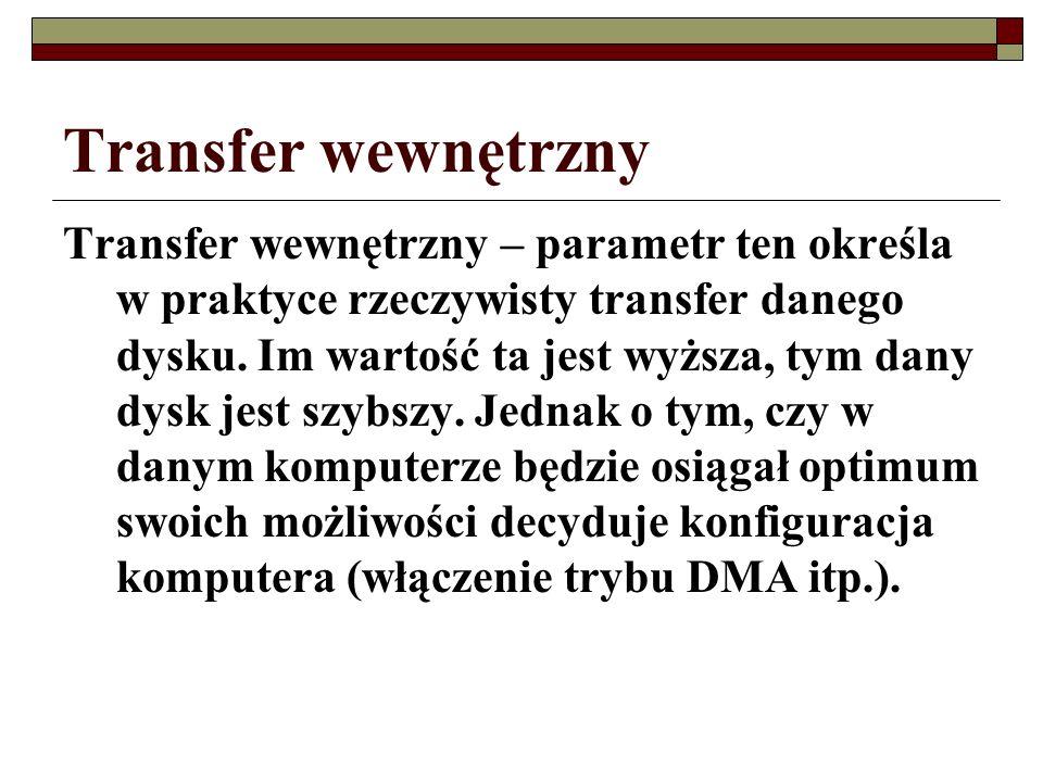 Transfer wewnętrzny Transfer wewnętrzny – parametr ten określa w praktyce rzeczywisty transfer danego dysku. Im wartość ta jest wyższa, tym dany dysk