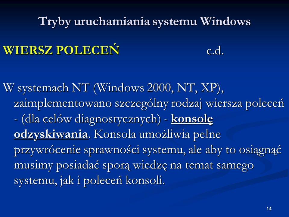 14 Tryby uruchamiania systemu Windows WIERSZ POLECEŃ c.d.