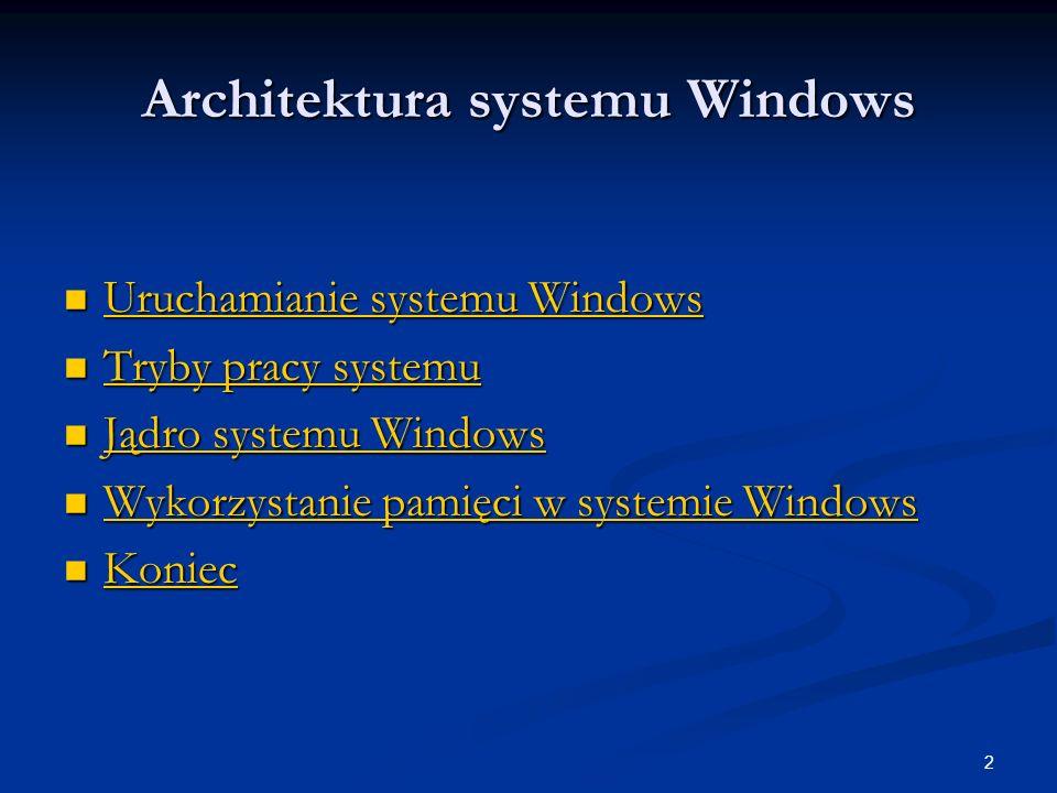 33 Wirtualny tryb rzeczywisty Kluczem do zgodności wstecz 32-bitowego środowiska Windows jest trzeci tryb pracy procesora wirtualny tryb rzeczywisty (ang.