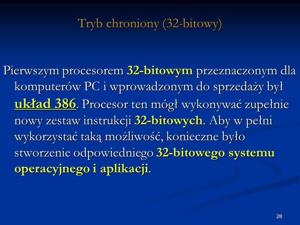 28 Tryb chroniony (32-bitowy) Pierwszym procesorem 32-bitowym przeznaczonym dla komputerów PC i wprowadzonym do sprzedaży był układ 386.