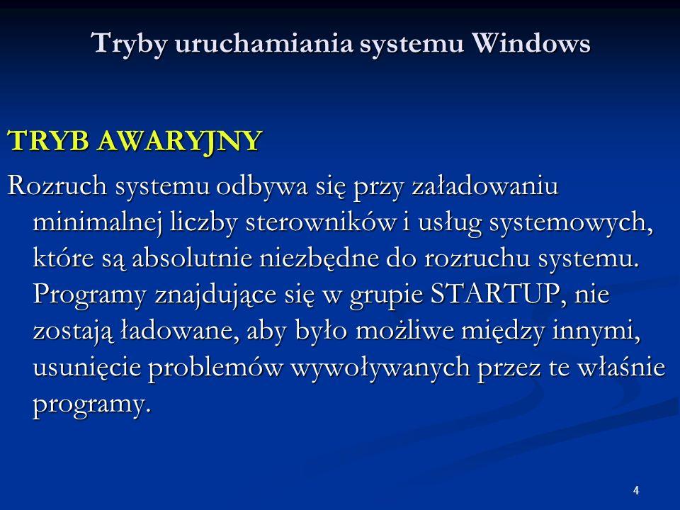 5 Tryby uruchamiania systemu Windows TRYB AWARYJNY - ten tryb pracy systemu, jest przeznaczony do diagnozy i usuwania problemów działania lub uruchamiania systemu.