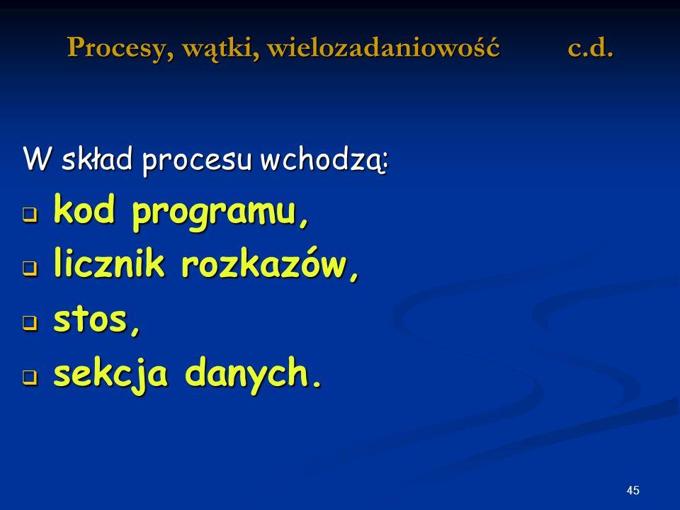 45 Procesy, wątki, wielozadaniowość c.d.