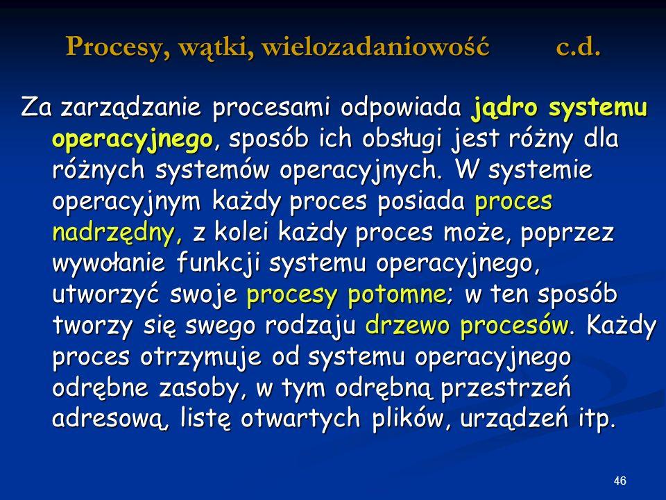 46 Procesy, wątki, wielozadaniowość c.d.