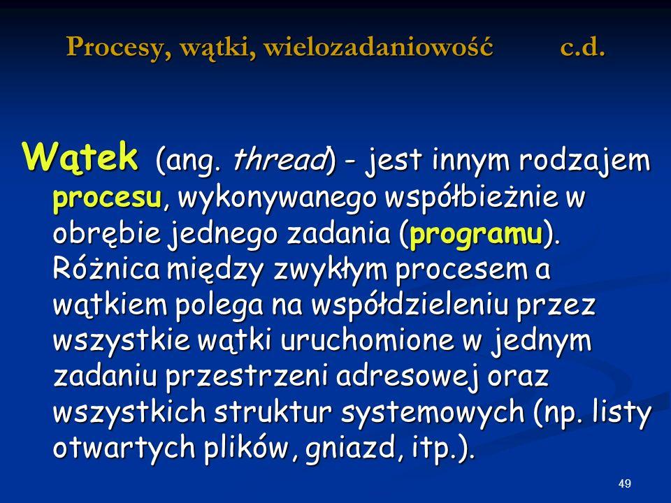 49 Procesy, wątki, wielozadaniowość c.d.Wątek (ang.