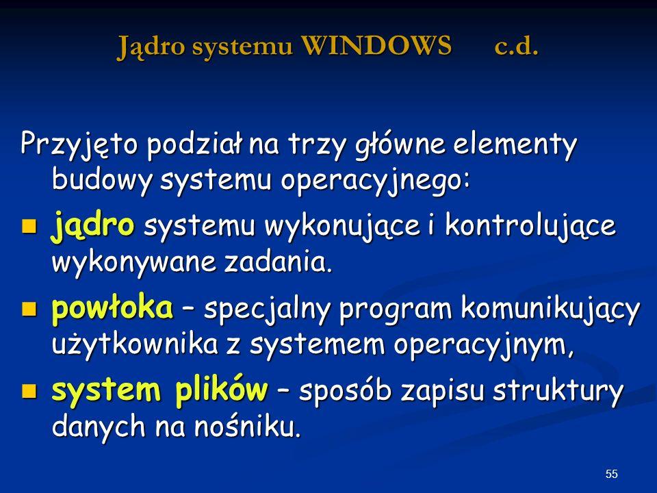 55 Jądro systemu WINDOWS c.d.