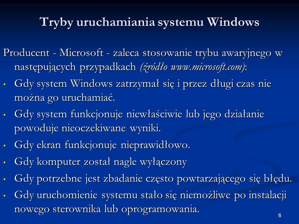 17 Tryby uruchamiania systemu Windows Uruchomienie i stosowanie konsoli odzyskiwania.