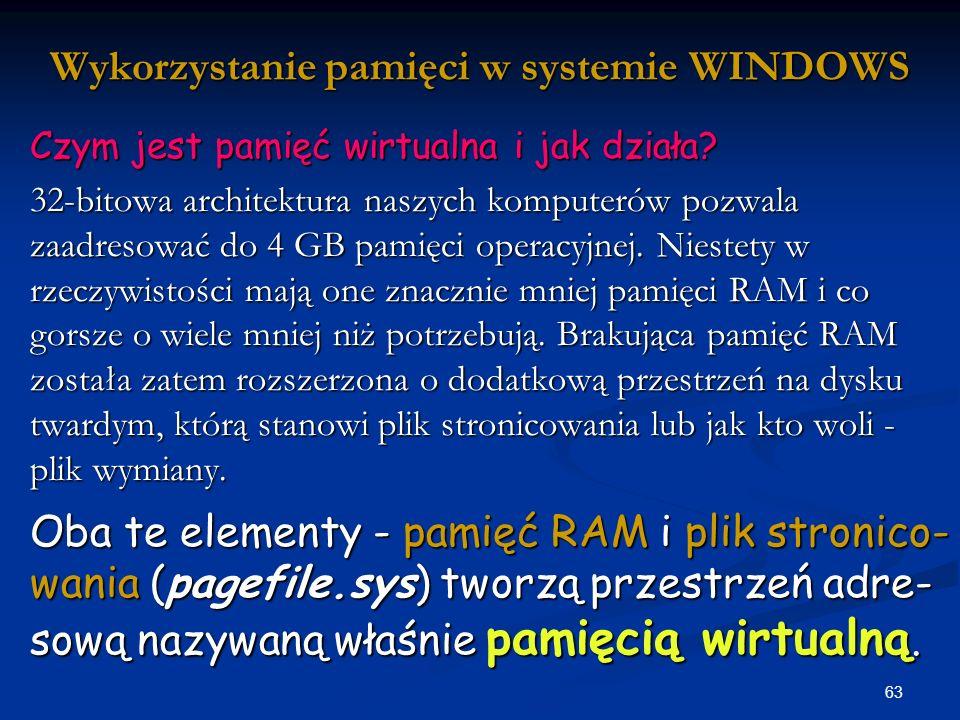63 Wykorzystanie pamięci w systemie WINDOWS Czym jest pamięć wirtualna i jak działa.