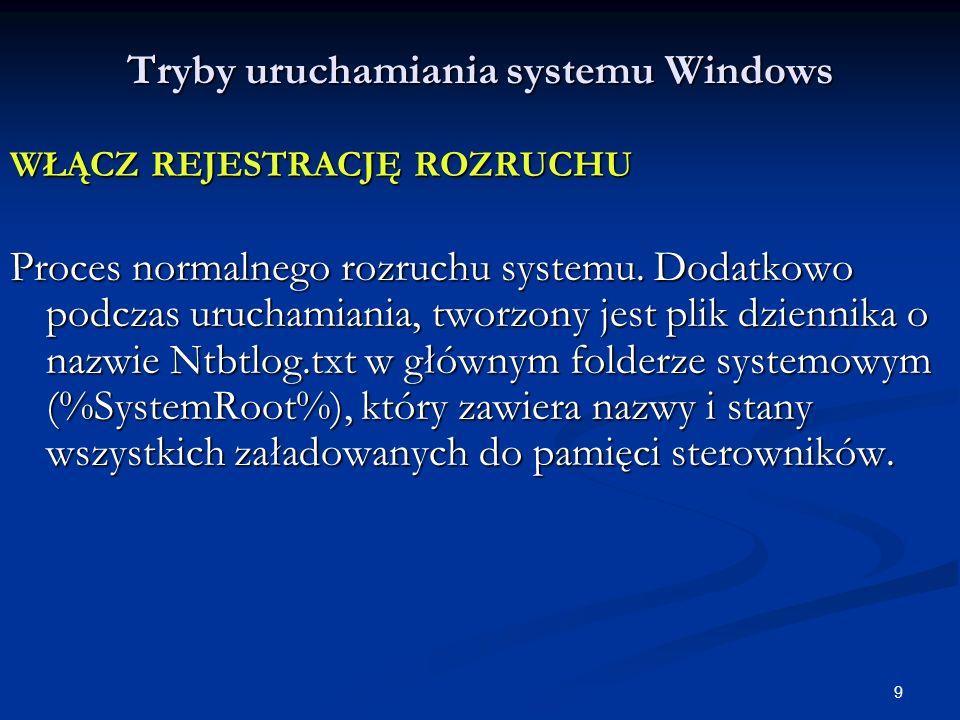 10 Tryby uruchamiania systemu Windows WŁĄCZ TRYB VGA Uruchamia system z wykorzystaniem podstawowego sterownika karty graficznej (najczęściej w najniższej rozdzielczości i z użyciem minimalnej liczby kolorów).
