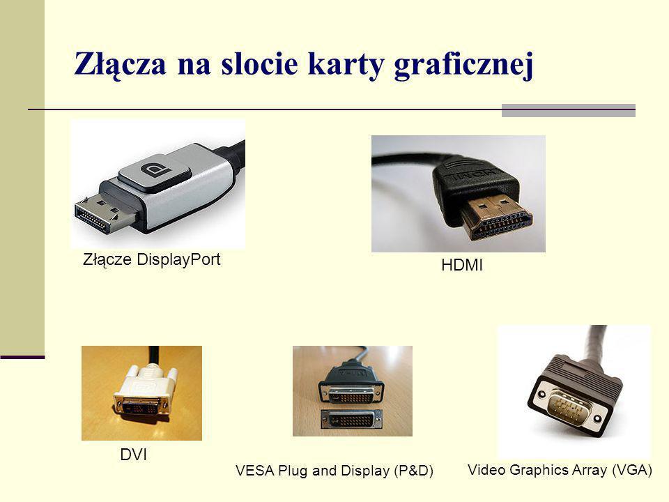 Złącza na slocie karty graficznej Złącze DisplayPort HDMI DVI VESA Plug and Display (P&D) Video Graphics Array (VGA)