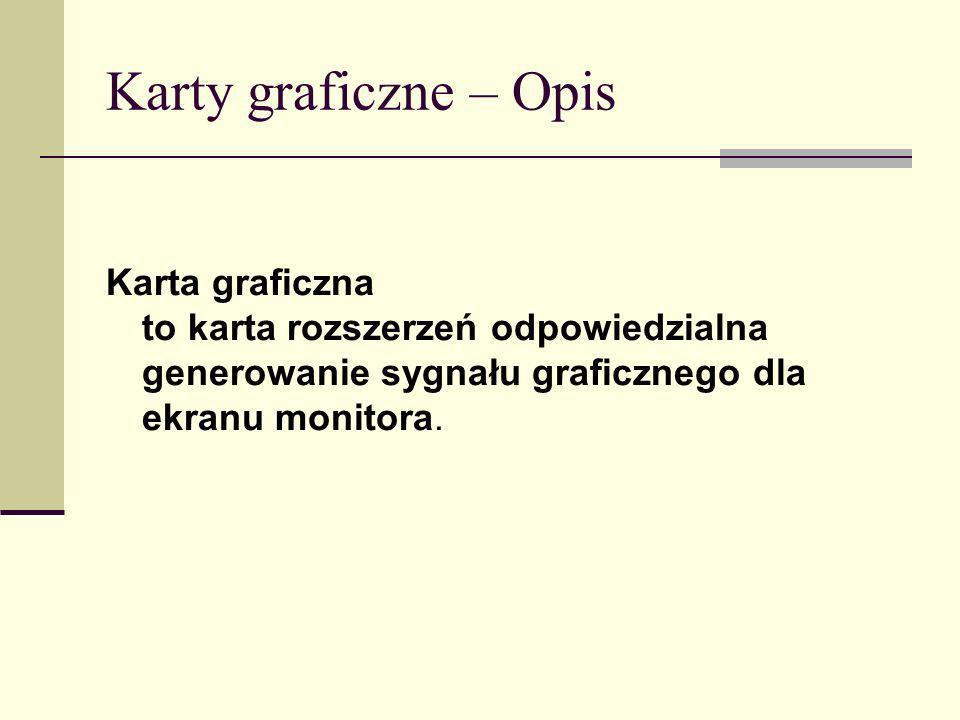Karty graficzne – Opis Karta graficzna to karta rozszerzeń odpowiedzialna generowanie sygnału graficznego dla ekranu monitora.